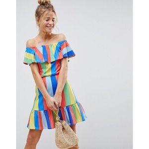 [ASOS] rainbow stripe off shoulder sundress